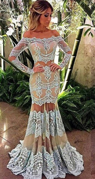 Sexy off-the-Shoulder Long Sleeve 2020 Prom Dress Mermaid Lace Sheer Skirt Party Gowns BA4074
