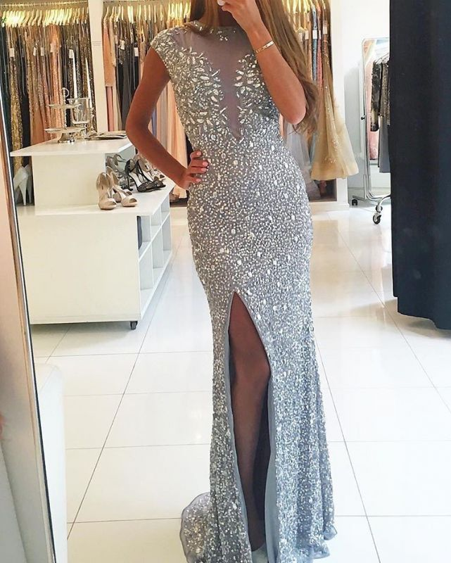 Gorgeous Crew Cap-Sleeve Sequins Prom Dress | 2020 Mermaid Crystal Evening Gowns With Split