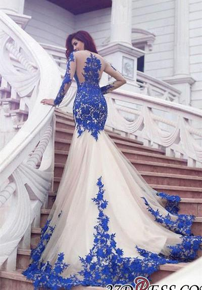 Long-Sleeve Mermaid Glamorous Appliques Tulle Evening Dress