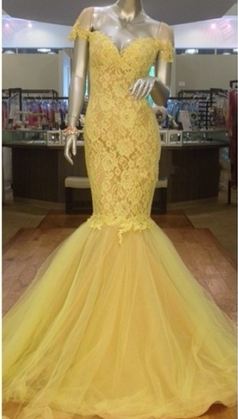 Newest Yellow Tulle Lace Mermaid Evening Dress 2020 Sweetheart Short Sleeve