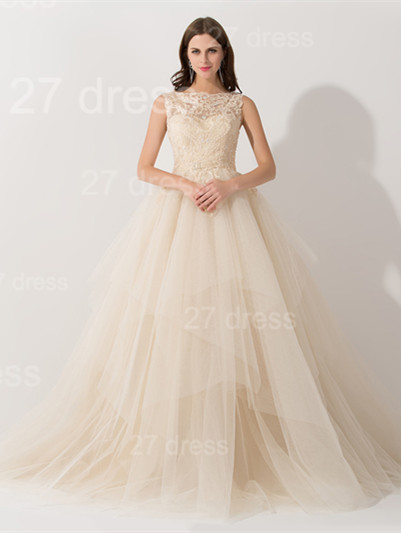 Newest Illusion Princess Tulle Evening Dress Lace Ruffles