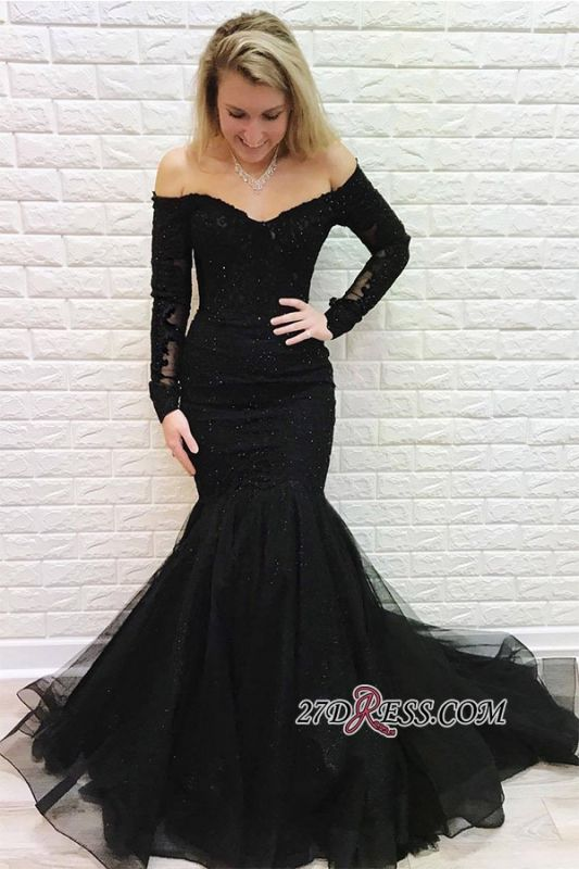 Black Off-the-shoulder Sweep Train Mermaid Brilliant Long-Sleeves Evening Dresses
