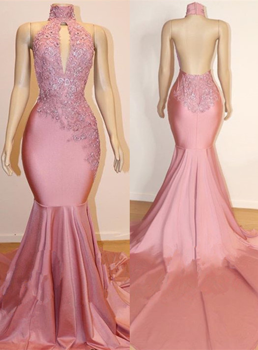 Elegant High-Neck Sleeveless Prom Dress | 2020 Mermaid Lace Appliques Evening Gowns BC1535