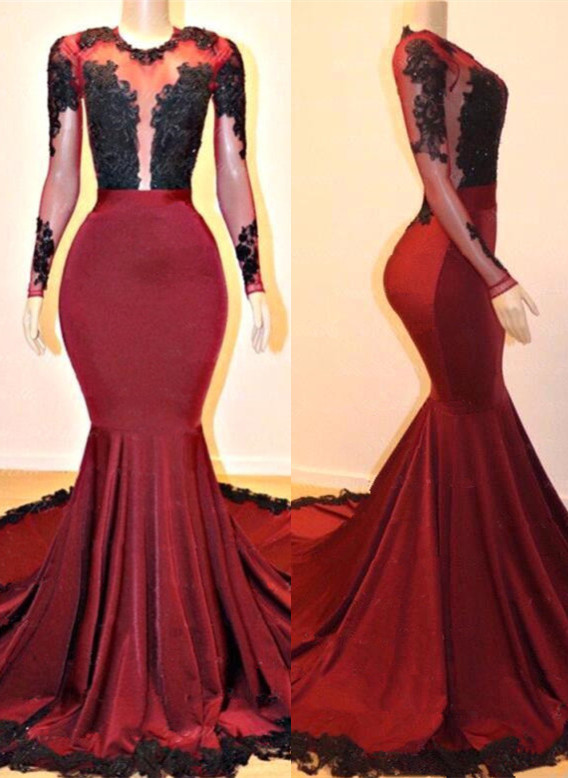 Gorgeous Long Sleeve Burgundy Prom Dresses | 2020 Mermaid Lace Evening Gowns On Sale