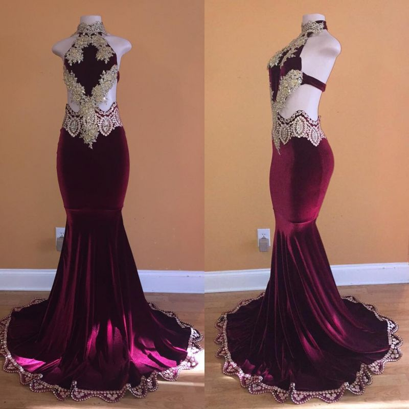 2020 Exclusive Halter Sleeveless Mermaid Prom Gown | Lace Appliques Long Evening Dress On Sale