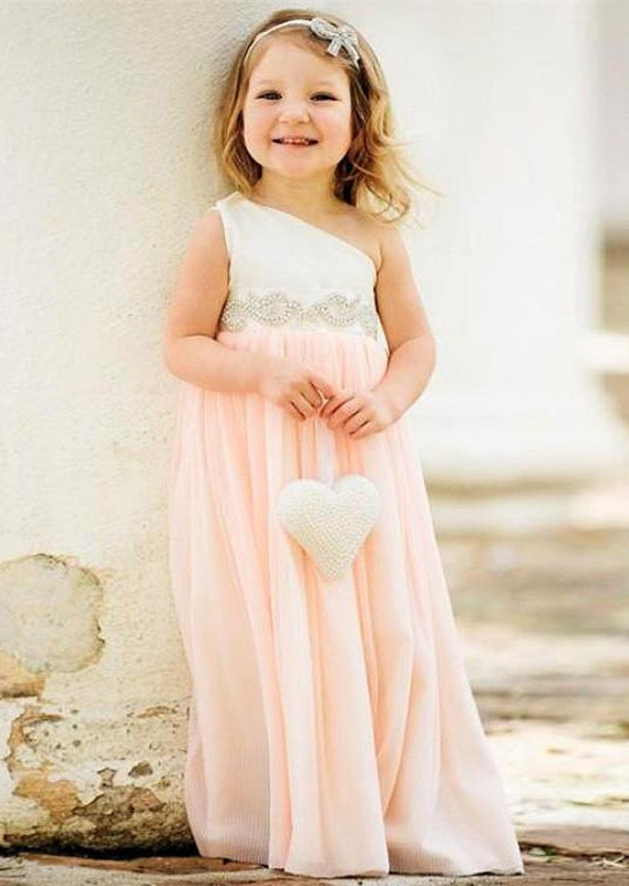 Delicate One Shoulder Chiffon Flower Girl Dress 2020 Pearls