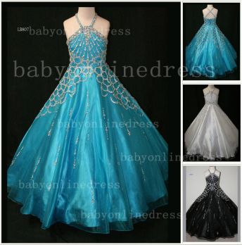 Halter Girls Dresses on Sale Discounted Pageant Beaded Crystal Organza Gowns Stores