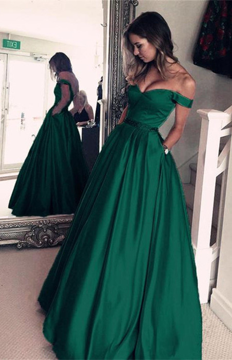 Elegant Off-the-Shoulder Evening Dress | 2020 Green Long Prom Dress BA5008