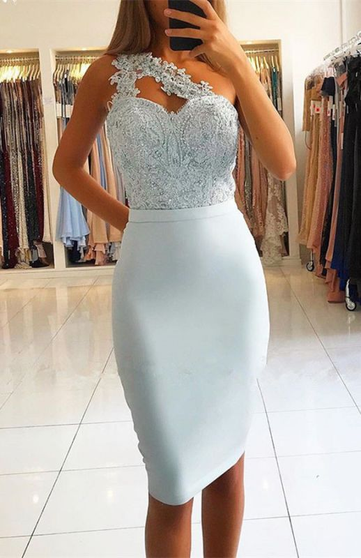 Elegant One Shoulder Mermaid Homecoming Dresses | 2020 Lace Short Prom Dresses On Sale