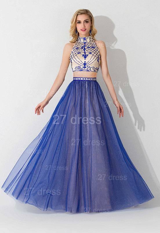 Modern Halter Two Piece Evening Dress Floor-length