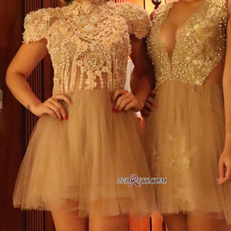 Lace shaort prom dress, 2020 lace homecoming dress