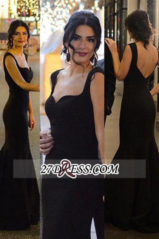 Long Mermaid Backless Sleeveless Sexy Black Evening Gowns