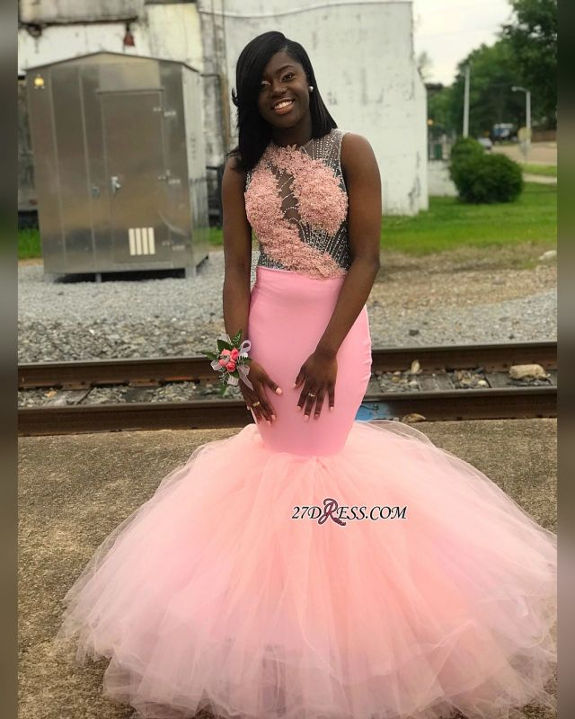 Pink Backless Tulle Mermaid Prom Dresses   Sexy Appliques Sleeveless Evening Gown