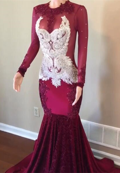 Gorgeous Long Sleeve 2020 Prom Dress | Lace Beadings Mermaid Evening Gowns