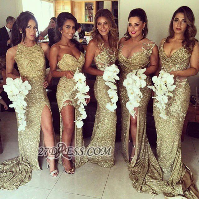 Sexy Sleeveless Golden Floor-length Bridesmaid Dress With Different Design