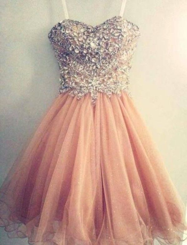 Gorgeous Sweetheart Spaghetti Strap Homecoming Dress Beadings Crystals Short Prom Gowns