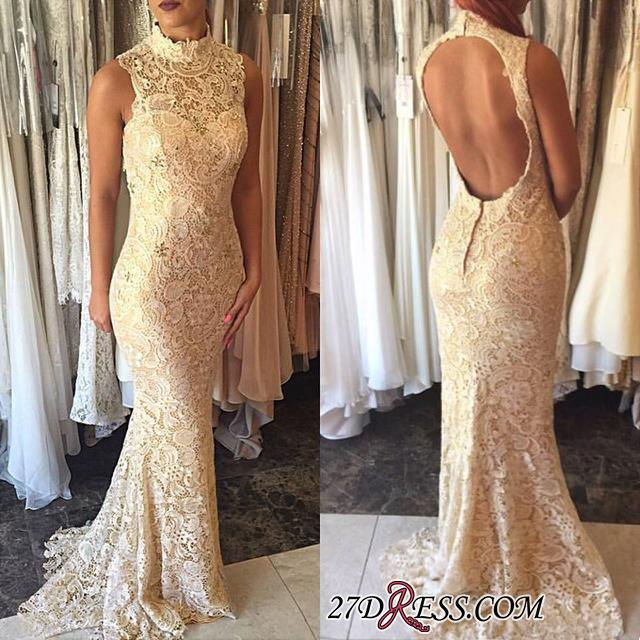 High-Neck Sleeveless Elegant Open-Back Lace Mermaid 2020 Prom Dress