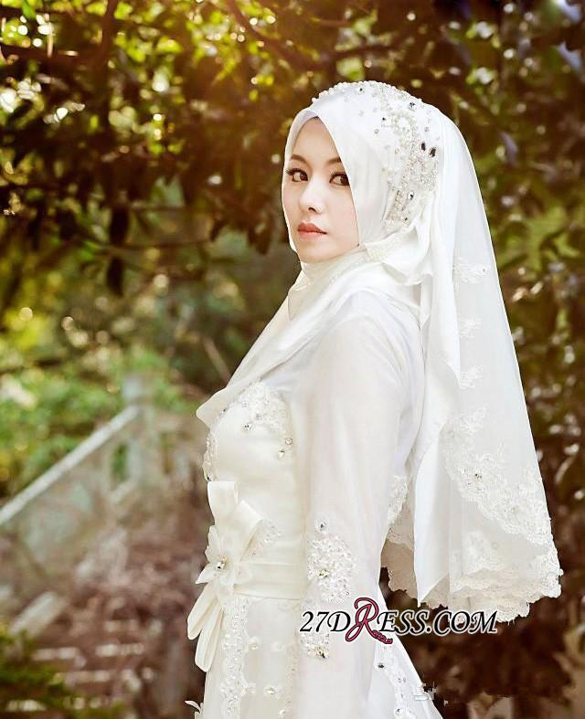 2020 Beads White Arabic Bow Delicate A-line Wedding Dress