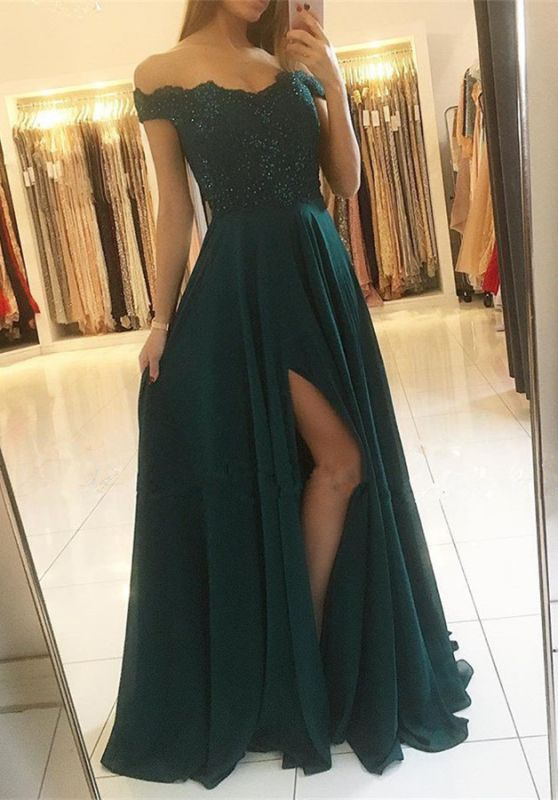 Elegant Off-the-Shoulder Lace Prom Dresses | 2020 Long Evening Gowns With Slit