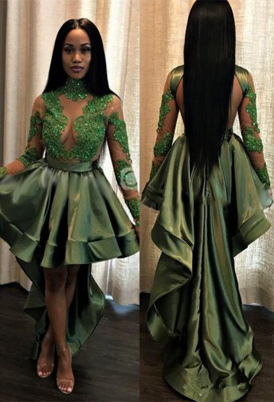 Green Hi-Lo Prom Dress | Long Sleeve 2020 Evening Party Gowns