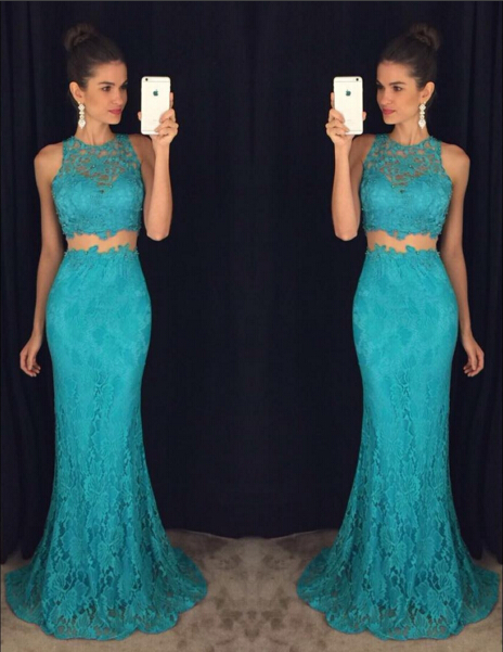 Delicate Mermaid Lace 2020 Prom Dress Two Piece AP0
