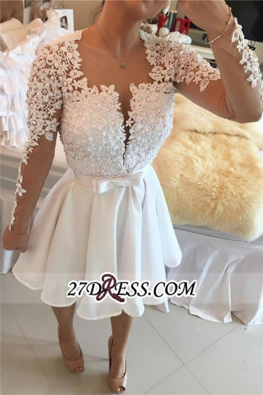 White Lace Long Sleeve Homecoming Dresses Short 2020 BC0724