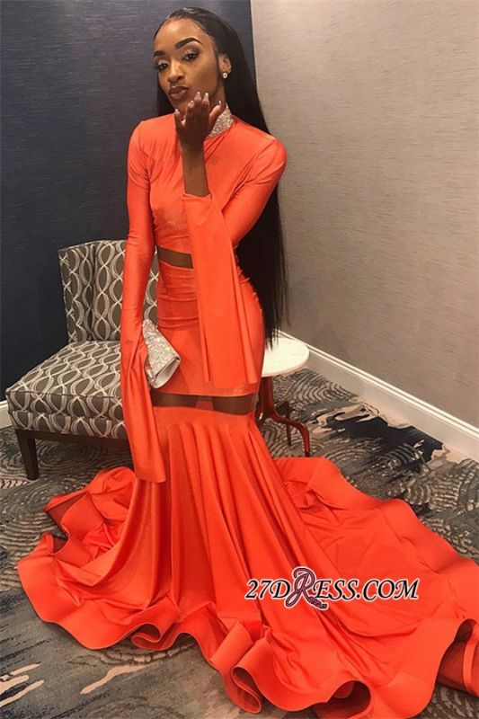 Sexy Long Sleeves Mermaid Prom Dress | Orange High-Neck Long Ruffle Prom Gown