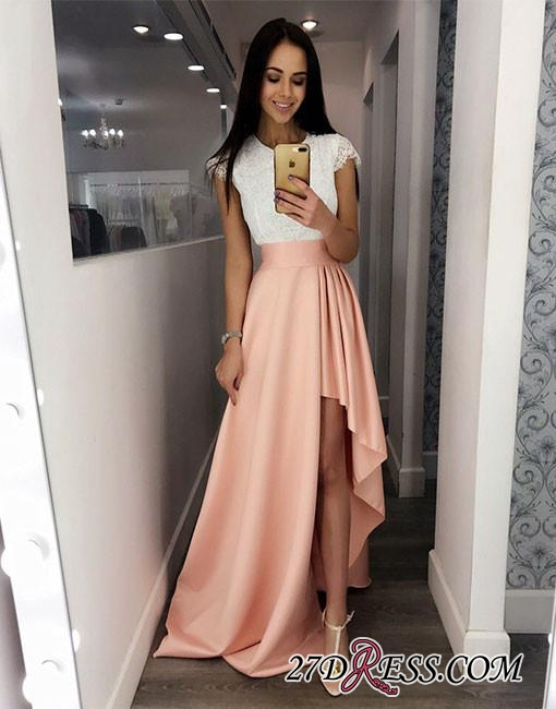 Cute Lace Prom High-low Fashion White-and-pink Cocktail Dress BC1037