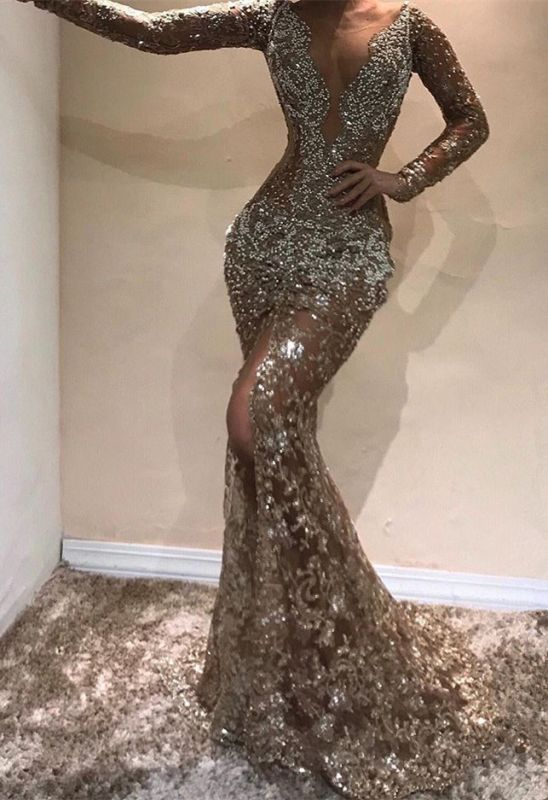 Gorgeous Long Sleeves Lace Appliques Prom Dresses | 2020 Mermaid V-Neck Evening Gowns BC0975
