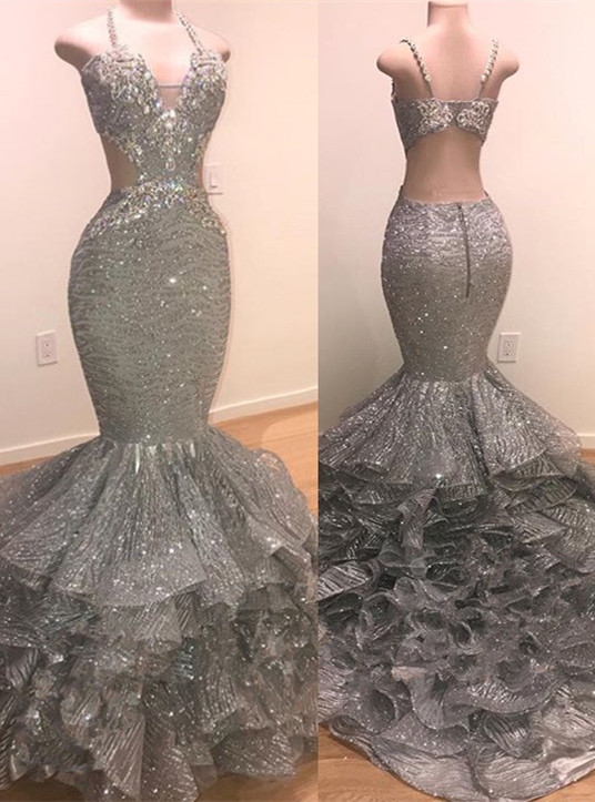 Glamorous Beads Sequins Prom Dresses | 2020 Mermaid Ruffles Evening Gowns