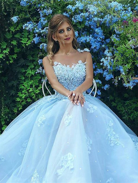 Baby Blue Gorgeous Sleeveless 2020 Evening Dress Long Tulle With lace Appliques BA7515