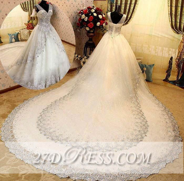 Elegant A-Line V-Neck Wedding Dresses Sleeveless Lace-Up Bridal Gowns with Beadings