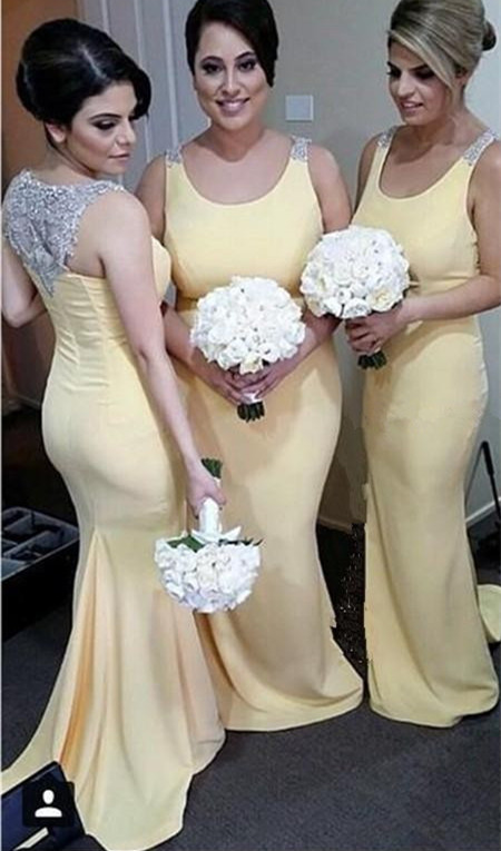 Elegant Crystals Straps Mermaid 2020 Bridesmaid Dress Sweep Train