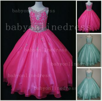 Organza Cheap Pageant Dresses for Girls Very Formal Gowns 2020 New Design Beaded Rhinestone Online