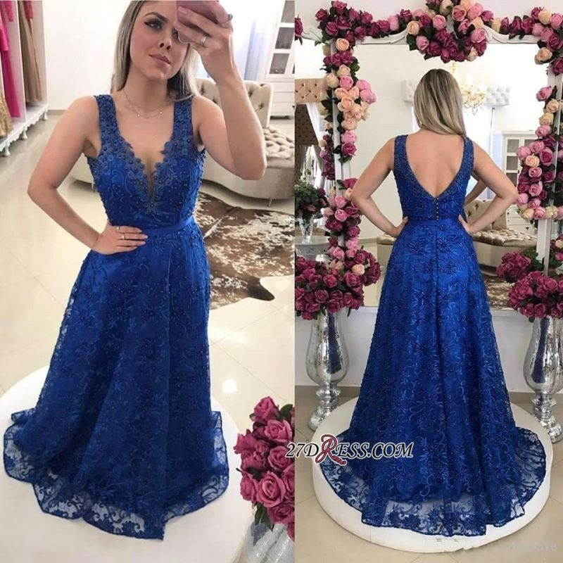 Elegant Royal-Blue Prom Dresses | 2020 Lace Evening Gowns On Sale
