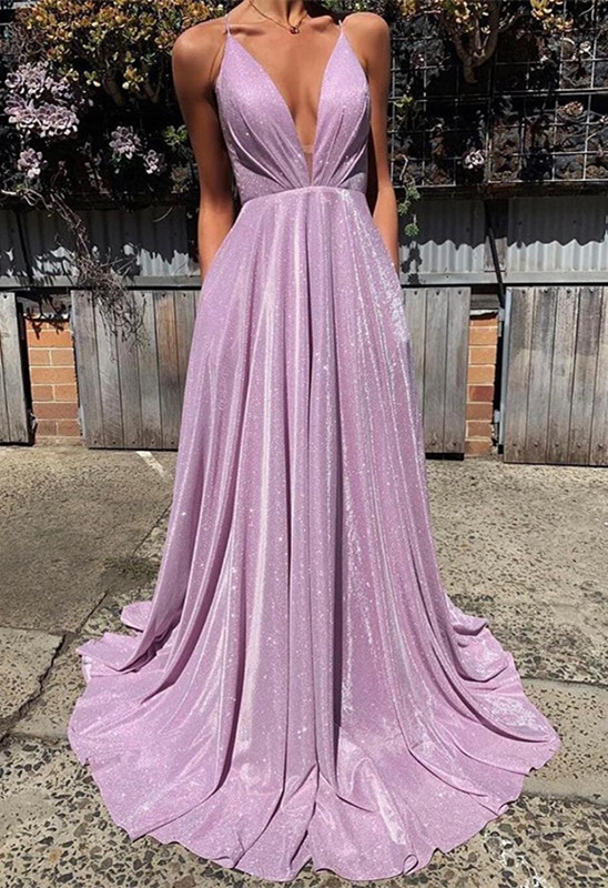 Gorgeous Spaghetti-Straps Long 2020 Prom Dress | Sequins V-Neck Evening Party Dress BC1727