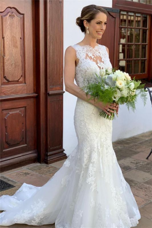 Elegant Strap Lace Appliques Mermaid Bridal Gown Sleeveless Wedding Dress