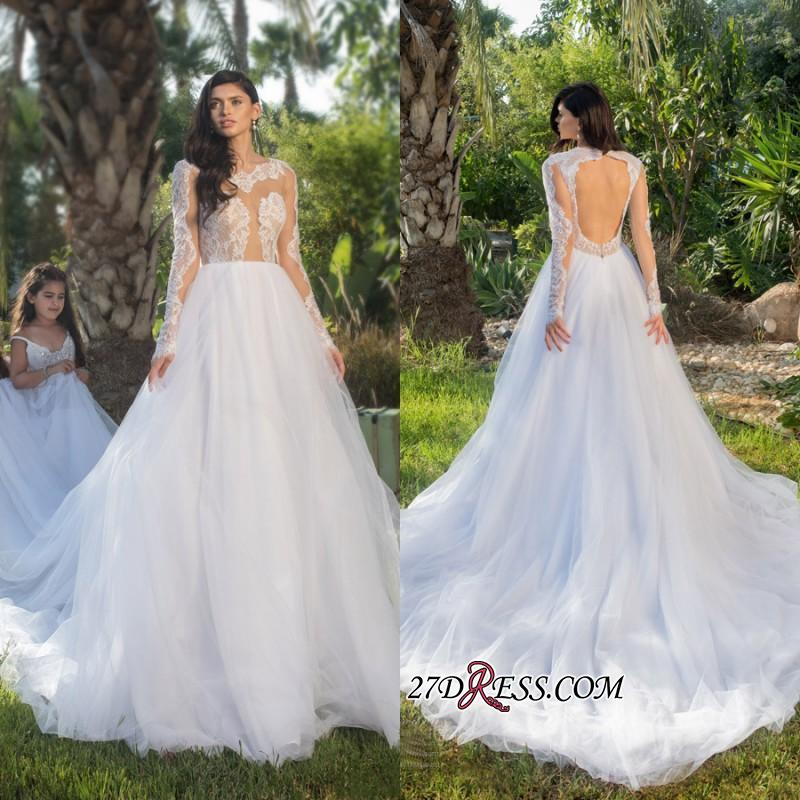 2020 Long-sleeve Modest Tulle A-line Lace-appliques Wedding Dress