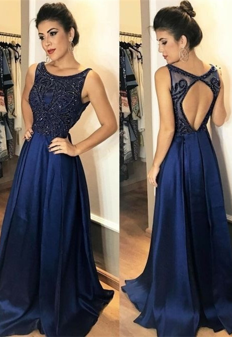 Elegant Sleeveless Navy 2020 Prom Dress Long Chiffon Party Gowns With Beads
