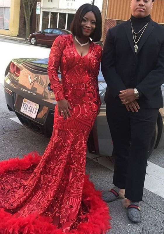 Sexy Red V-Neck Long Sleeve Prom Dress | 2020 Mermaid Sequins Feather Evening Gowns