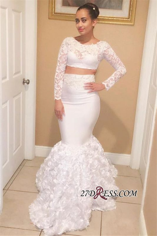 Sexy Two-Pieces Mermaid White Long-Sleeves Lace Prom Dresses bk0