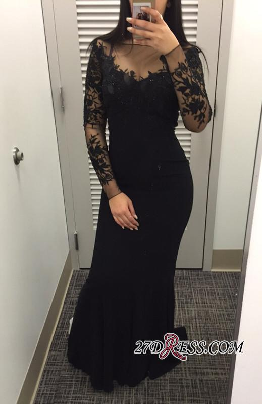 2020 Lace Appliques Long Mermaid Dress Prom Long Sleeves Black 2020 Evening Gowns CC0001