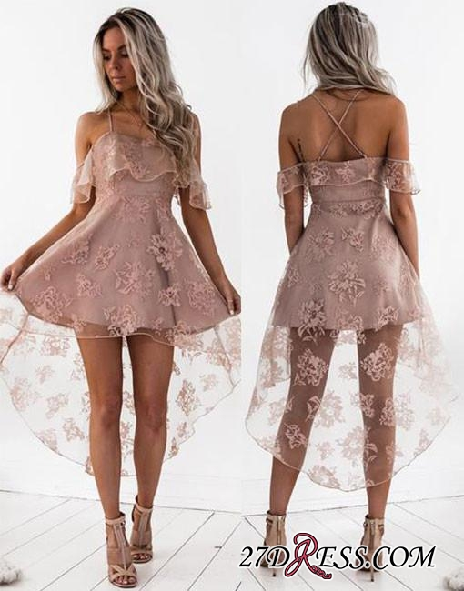 Short Hight-low Lace A-line Cute Homecoming Dress BA7000