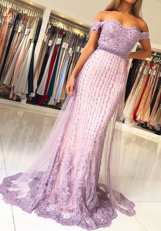 Glamorous Off-the-Shoulder Lace Evening Gowns | 2020 Lace Tulle Prom Dresses