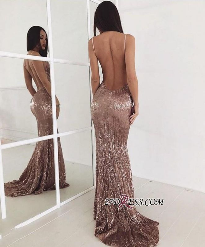 Sequin Sweep-train New-arrival Sexy Beading Backless Prom Dress