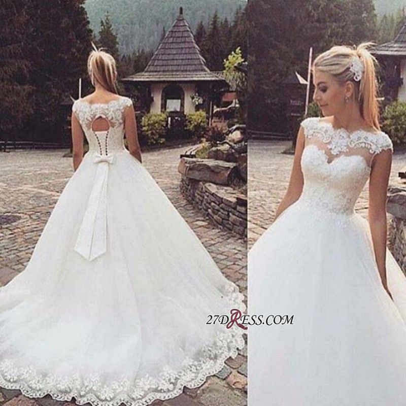 Lace-Up Back Capped-Sleeves Ball Gown Bow Wedding Dresses