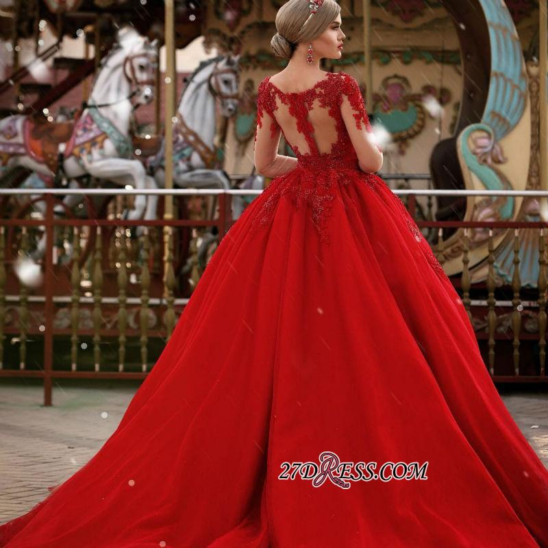 V-Neck Gorgeous Red Long Sleeve Lace 2020 Evening Dress BA7213