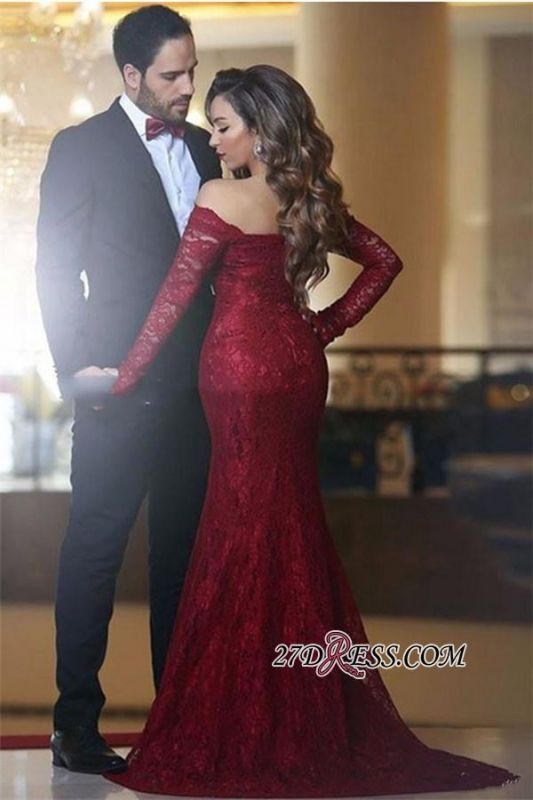Lace Off-the-shoulder Red Elegant Long Long-Sleeve Mermaid Evening Dress BA3596