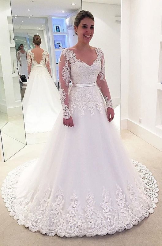 Charming Lace Appliques A-Line Wedding Dress | Long Sleeve 2020 Bridal Gowns On Sale