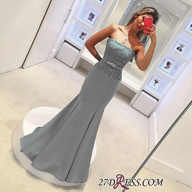 2020 Strapless Lace Sleeveless Delicate Mermaid Bow Prom Dress